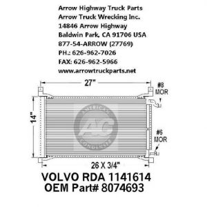 "Volvo VN - Series A/C Condenser 26""x14"" tall for 96-06"