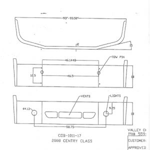 Freightliner Century Class Bumper: 2008-Up: Redesign-Replaces OEM Chrome: w/ Tow Holes, Vent Holes, & Fog Light Holes