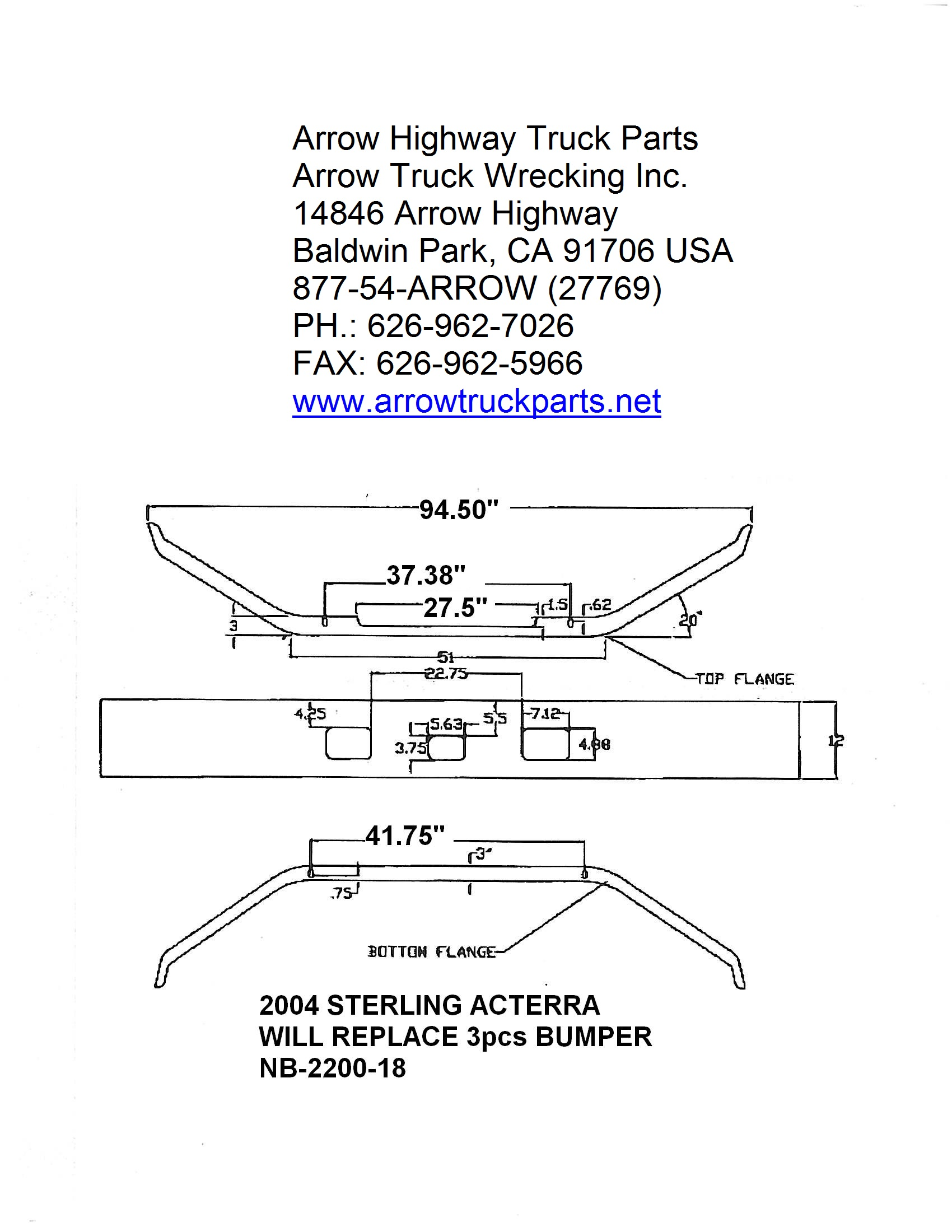 Bumpermaker Sterling Acterra 2002 To 2007 Ford Aeromax L9000 Wiring Schematic 94 Bumper